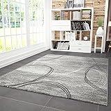 VIMODA Wohnzimmer Teppich Modern Teppiche sehr dicht gewebt Kreisel Muster Meliert in Grau Schwarz, Maße:200x290 cm