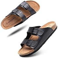 Mens Womens Sandals Open Toe Flat Footbed Slides Mules Ladies Flip Flops Comfy Cork Sandal Buckle Summer Holiday…