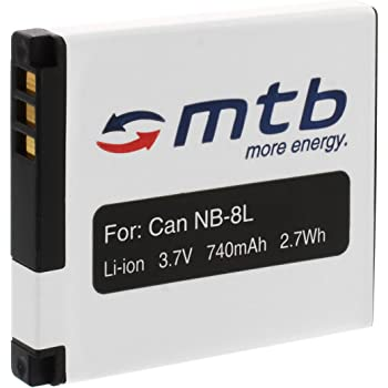 Batteria NB-8L per Canon PowerShot N, A3200 IS, A3300 IS, A3350 IS