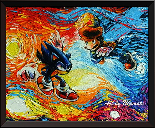 uhomate Sonic The Hedgehog und Super Mario Poster Vincent Van Gogh Starry Night Poster Leinwandbild Home Kunstdruck Jahrestag Geschenke Baby Kinderzimmer Decor Wohnzimmer Wall Decor A073, 8x10 inch