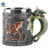 Vintage Dragon Mug Stainless Steel Hand Painted Coffee Mugs 301-400ML