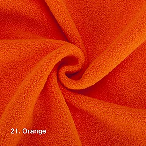 Polar Fleece Fat Squares Fabric, Quality Material, International Approved Test Report for Anti Pill Finish. 21 Colours, 50 x 75cms Pieces. Beautiful Plush Pile for garments, home décor & crafts. - 21. Orange - Fat Square