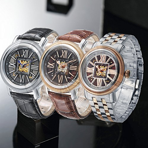 Time100 New Men's Classic BusinessTwo-Tone Mechanical Skeleton Design Automatic Self-wind Steel&Leather World Time Zones Lumilous Watch Mechanical Watch