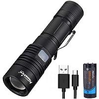 Alonefire H010 Torcia LED Potente Professionale 4000 Lumen Alta Potenza XHP50.2 LED Ricaricabile USB 5 Modalità con…