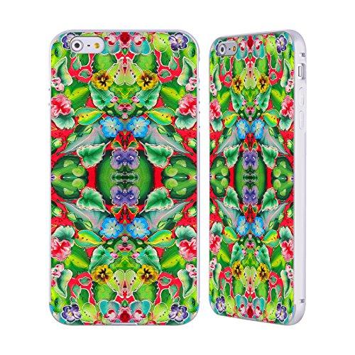 Ufficiale Howie Green Segni Di Pace Pattern Argento Cover Contorno con Bumper in Alluminio per Apple iPhone 6 Plus / 6s Plus Fiori Rosa 715