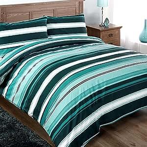 Turquoise Rayé Parure de lit - 2 personnes Housse de Couette 230 x 220 cm + 2x Taies 50x75