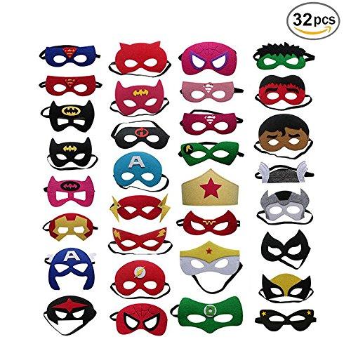 BJ-SHOP Superhelden Masken,Superhero Cosplay Party Masken Halbmasken Halbe Augenmasken für Kinder Party Taschen ()
