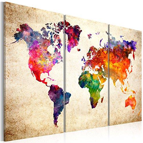 Bd xxl murando - quadro 90x60 cm - quadro su tela fliselina – 3 parti - quadro su tela fliselina - stampa in qualita fotografica – mappa del mondo mappa continente k-b-0028-b-a