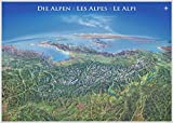 Panoramakarte Alpen: Poster, ca. 95 x 133 cm