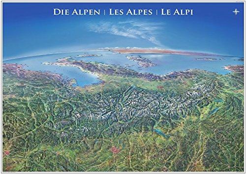 Panorama Alpen Poster Panorama-karte