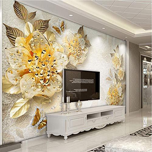 Benutzerdefinierte Fototapete Goldene Blumen Diamant Schmuck Hintergrund Wandmalereien Modernen Europäischen Stil Wohnzimmer Dekoration