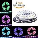 Allbuymall Striscia LED Impermeabile IP65 5M RGB 300 LEDs 5050 SMD LED Strip DC 12V, RGB+CW(Bianco Freddo)
