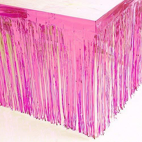 Blukey Lametta-Folie, goldfarbener Tischrock 2,7 m x 73,7 cm, Metallic-Party-Tischrock 274 x 73,7 cm, rose, 108