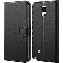 Coque Samsung Note 4, HOOMIL Housse en Cuir Premium Flip Case Portefeuille Etui Coque pour Samsung Galaxy Note 4 (H3055, Noir)