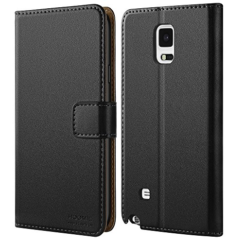 HOOMIL Handyhülle für Samsung Galaxy Note 4 Hülle, Premium PU Leder Flip Schutzhülle für Samsung Galaxy Note 4 Tasche, Schwarz
