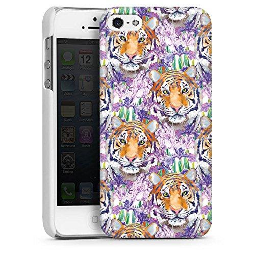 Apple iPhone 5s Housse Étui Protection Coque Tigre Chat Motif CasDur blanc