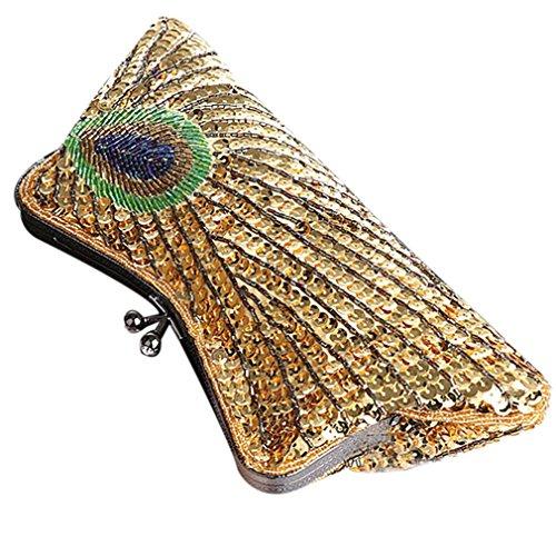 Belsen Damen Pfau Feder Paillette wulstige Beutel Party Hochzeit Handtasche Clutches golden