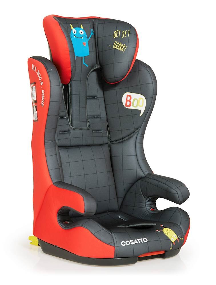 Cosatto Hubbub Isofix Group 123 Car Seat, 9-36 kg, Monster Mob Cosatto Suitable from 9 kg-36 kg (9 months-12 years approximately) ISOFIX Cosatto five point plus anti-escape system Side impact protection, compfy padded armest and six position adjustable head rest height 3