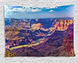 prz0vprz0v House Decor Tapestry, Aerial View of Epic Grand Canyon Activity of River Stream Over Rock Plateau Print, Wall Hang