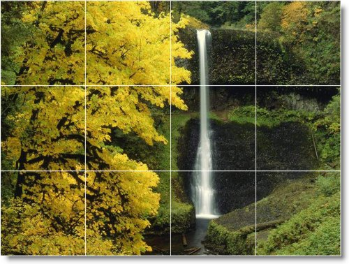 FOTOS CASCADAS COCINA TILE MURAL W083  24X 32CM CON (12) 8X 8AZULEJOS DE CERAMICA