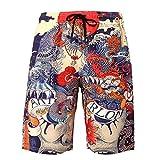 Dreamskull Herren Männer Strandhose Badeshorts Badehose Beachshorts Hawaii Hose Shorts Strand Surfen 3D Kurz Leicht Freizeit Urlaub Casual Bunt Blumen Große Größen S-3XL (M, Drache)