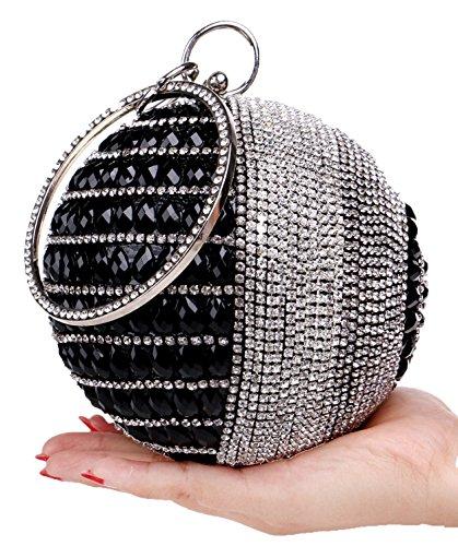 Santimon Damen Clutches Kristall Strass Handtasche Runde Form Luxus Partei Beutel Mit Bügel Schwarz