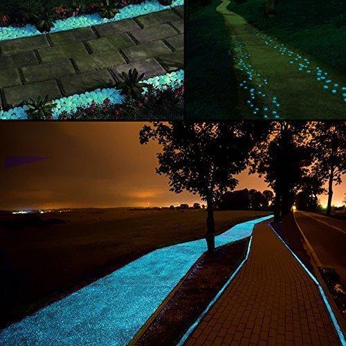 100pcs glow in the dark pebbles stones - middletone decorative glow stones luminous stone solar pebbles for garden yard walkway flowerpot fish tank swimming pool (blue)