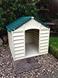 Dog Kennel Plastic Small Medium Size Easy To Erect And Clean (Beige & Green)