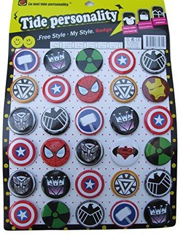30x groß Marvel Thor, Iron Man, Captain America, SpiderMan 4cm durchmesser abzeichen Geschenk, beute, partytüten spielzeug von Fett-Catz-Kopie-catz (Thor Dekorationen)