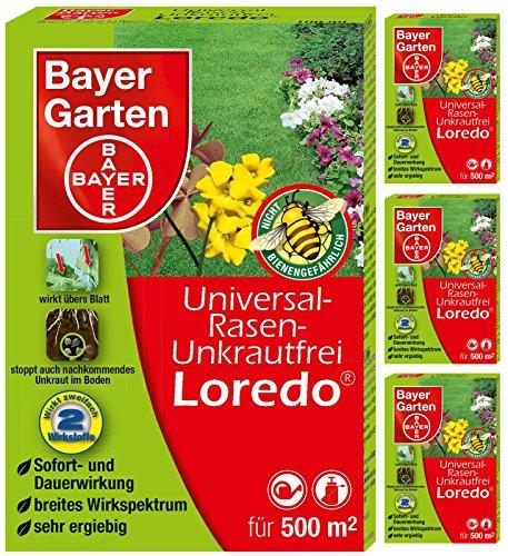 4 x 100 ml Bayer Universal-Rasenunkrautfrei Loredo Unkrautvernichter