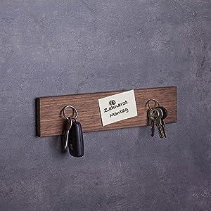 Woods Schlüsselbrett Holz magnetisch Nuss-Holz I Schlüsselablage I magnetische Messerleiste I Wanddekoration aus Holz…