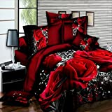 3d Motif rose 4Parure de lit–housse de couette, drap et 2taies d'oreiller