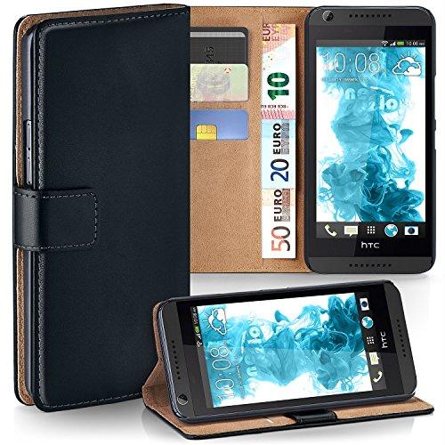moex HTC Desire 626G | Hülle Schwarz mit Karten-Fach 360° Book Klapp-Hülle Handytasche Kunst-Leder Handyhülle für HTC Desire 626G/626 Case Flip Cover Schutzhülle Tasche