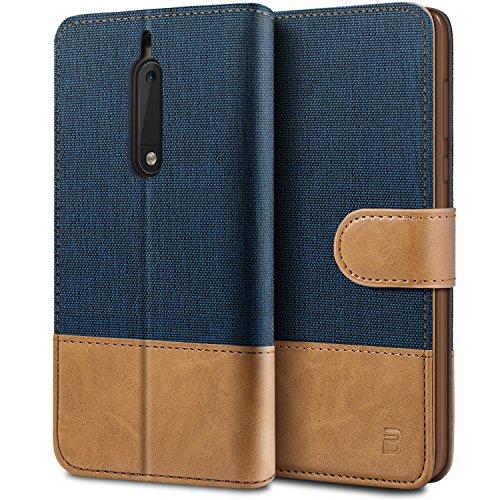 BEZ Hülle für Nokia 5 Hülle, Handyhülle Kompatibel für Nokia 5, Handytasche Schutzhülle Tasche [Stoff und PU Leder] mit Kreditkartenhaltern, Blaue Marine