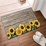 AdaCrazy Sonnenblumen-Dekoration, Badematte aus Holz, Rutschhemmende Unterseite, vorne, Innen, Türvorleger, Badteppich, 16 x 24 Zoll