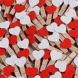 Prezzo kanggest 10pcs Mini mollette legno piccole per foto clip di legno decorative Cuore Bianco biancheria carta diy mini foto di legno
