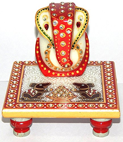 Fashion-Bizz-Meenakari-Work-Lord-Ganesh-Marble-Pooja-Chowki-Set-of-2-Pcs-Combo