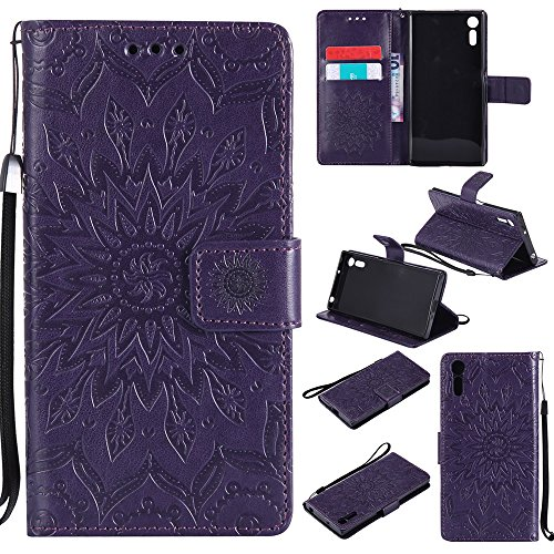 Für Sony Xperia XZ Fall, Prägen Sonnenblume Magnetic Pattern Premium Soft PU Leder Brieftasche Stand Case Cover mit Lanyard & Halter & Card Slots ( Color : Green ) Purple
