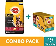 Pedigree Pro Active Adult Large Breed Dogs Dry Dog Food, 3 kg + Adult Wet Dog Food, Chicken & Liver Chunks in Gravy, 80 g (1.