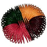Ali Cosmetics Traditional Glass Bangles Chudi Set Red, Green, Brown & Yellow (Pack of 108) for Women and Girls Festive & Part