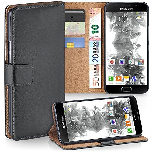 Samsung Galaxy A3 (2016) Hülle Dunkel-Grau mit Karten-Fach [OneFlow 360° Book Klapp-Hülle] Handytasche Kunst-Leder Handyhülle für Samsung Galaxy A3 2016 Case Flip Cover Schutzhülle Tasche (Karte Grau)
