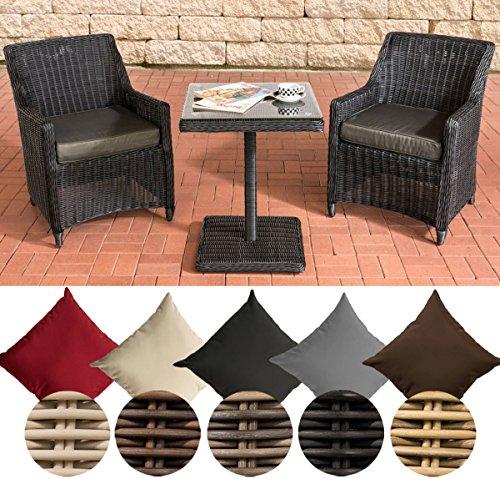CLP Gartengarnitur ARMETTA | Balkon-Sitzgruppe mit 2 Sitzplätzen | Gartenmöbel-Set aus Polyrattan | Komplett-Set mit 2 Gartenstühlen und einem Tisch | In verschiedenen Farben erhältlich Rattanfarbe: Schwarz, Bezugfarbe: Anthrazit