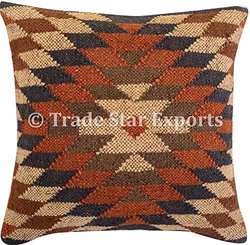 Tradestar - Funda de cojín de yute indio tejida a mano, almohada Kilim, funda de almohada de 18 x 18...