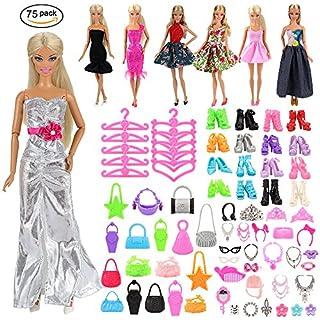 Miunana 75 pcs Kleidung Kleider Schuhe Zubehör, inkl. 5 Kleider, 40 Zubehör, 10 Paar Schuhe, 10 Tasche, 10 Kleiderbügel für Barbie Puppen Doll