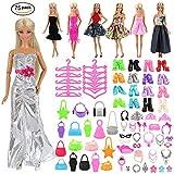 VILLAVIVI 75 pcs Kleidung Kleider Schuhe Zubehör, inkl. 5 Kleider, 40 Zubehör, 10 Paar Schuhe, 10 Tasche, 10 Kleiderbügel für Barbie Puppen Doll