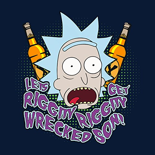Rick And Morty Lets Get Riggity Wrecked Son Women's Hooded Sweatshirt Navy Blue