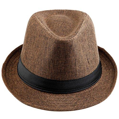 Shanxing Fedora Hut Herren Trilbyhut Panamahut Sonnenhut Hüte Jazz Kappe, 013-Braun, one size