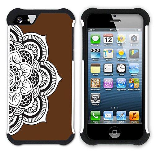 Graphic4You Mandala Blume (Lila) Hart + Weiche Kratzfeste Hülle Case Schale Tasche Schutzhülle für Apple iPhone SE / 5 / 5S Braun