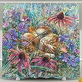 oklety mit wasserdichter Duschvorhang, Motiv Katze mit Blumen-Vorhänge, 60x 60cm
