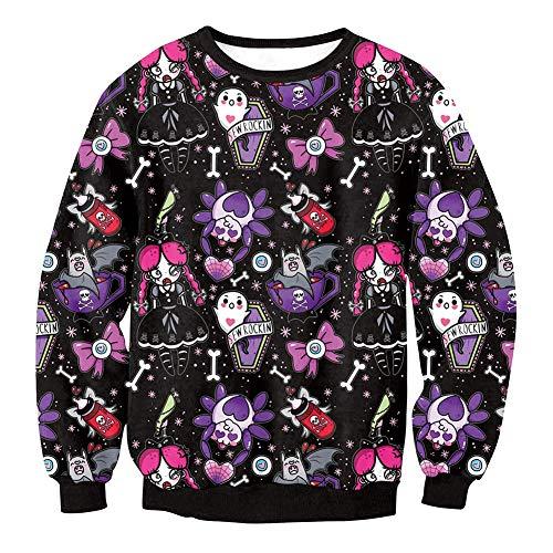 (YaXuan Halloween-Kostüme, Frauen Langarm-Sweatshirts Tops, 3D-Druck Muster Pullover, Halloween Karneval Festival Urlaub (Farbe : 2, Größe : L))